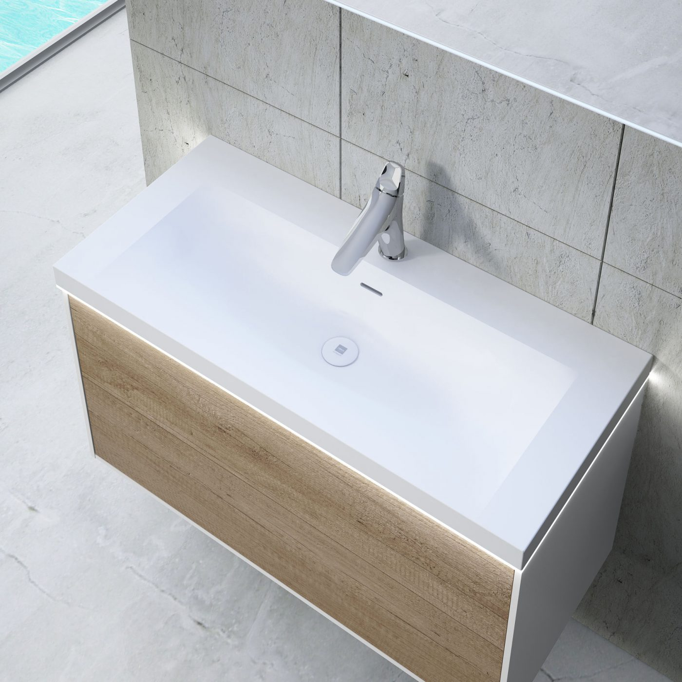 Lavabo de resina integrado con led