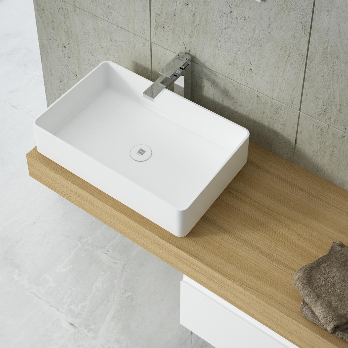 Rectangular countertop basin