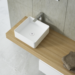 Square countertop basin 37cm
