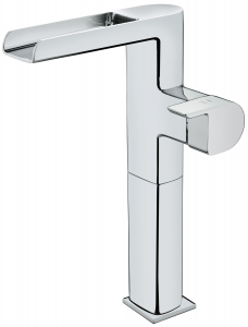 Tall cascade washbasin mixer