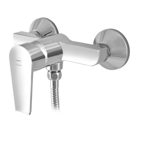 Shower mixer with shower set